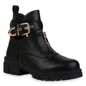 VAN HILL Damen Ankle Boots Stiefeletten Schnallen Profil-Sohle Schuhe 836396, Farbe: Schwarz, Größe: 40