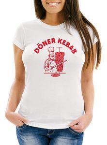 Döner T-Shirt Damen Kebab Slim Fit Moonworks® weiß M