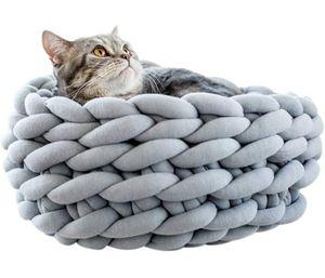 Handgestrickter Katzenkorb Schlafsack Dicke Wollkatzenbetten