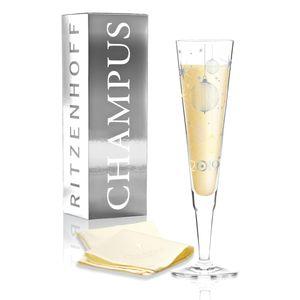 Ritzenhoff Champus Design Jahrgangs-Champagnerglas 2019 mit Stoffserviette, Sektglas, Champusglas, Sektflöte, Concetta Lorenzo, Herbst 2018, Kristallglas, 200 ml, 1079009