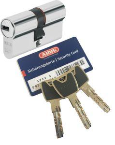 ABUS XP20S Doppelzylinder Länge (a/b) 40/45 (c=85mm) mit Sicherungskarte und 3 Schlüssel mit Design-Clip, Not-u. Gefahrenfunktion und SKG** Bohrschutz