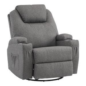 MCombo Massagesessel Fernsehsessel Relaxsessel mit Heizung Dreh 360° Schaukel Stoffbezug Grau 7020DE