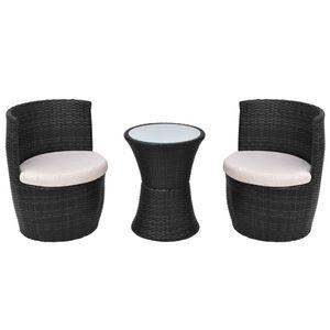 Huicheng Poly Rattan Bistro Set Schwarz Sitzgarnitur Gartenmöbel Set 3 teilig mit Auflagen