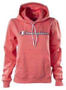 Champion Damen Hooded Sweatshirt - Kapuze, Unifarben, Logo-Stick, Langarm Pink M