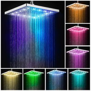7 Farbe LED Edelstahl Duschkopf Eckig Regendusche Kopfbrause Chrom
