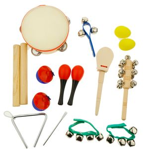 Musikinstrumente Musical Instruments Set Spielzeug von Holz Percussion Schlagzeug Schlagwerk Rhythmus Band Werkzeuge für Kinder und Baby