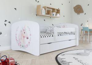 Kinderbett | rausfallschutz kinderbett | Stauraumbetten mit Rausfallschutz und Schublade,weiß,80 cm x 180 cm,Einhorn
