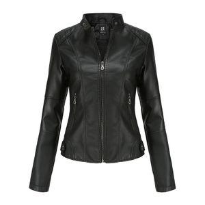 Damen Kunstlederjacke Reißverschluss Motorrad Motorradjacke,Farbe: schwarz,Größe:S