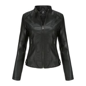 Damen Kunstlederjacke Reißverschluss Motorrad Motorradjacke,Farbe: schwarz,Größe:XXL