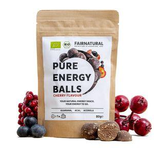 Energy Balls VEGAN [1 Ball wirkt wie 1 Kaffee] » Alternative zu Energy-Riegel & Energy-Drink « Mit Guarana, Acai, Datteln - Immun-Boost mit Kirschgeschmack (80g)