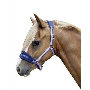 HKM Halfter -Funny Horses-, Farbe:1357 dunkelblau/blau/dunkelpink, Größe:Mini Shetty