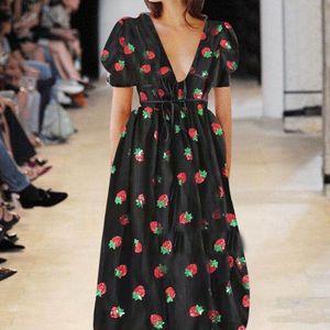Mädchen A-Linie Ballkleid Erdbeer Print Mesh Partykleid