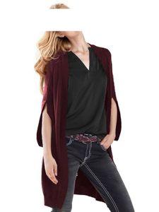 RICK CARDONA Damen Designer-Longstrickjacke, bordeaux, Größe:38
