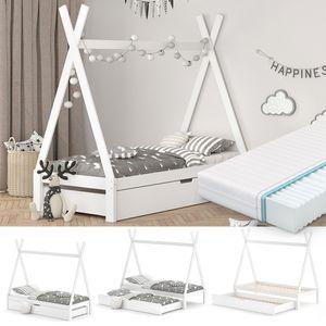 VitaliSpa Kinderbett Tipi Hausbett Weiß Bett Kinderhaus Zelt Bett Schublade 90x200cm inklusive Bettschublade und Matratze 90x200 cm