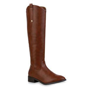 Mytrendshoe Damen Klassische Stiefel Leicht Gefütterte Schuhe 835643, Farbe: Hellbraun, Größe: 39