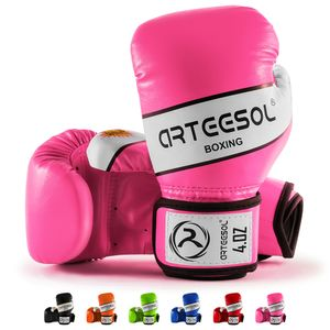 arteesol 4oz Kinder Boxhandschuhe Kampfsport Punch Bag Kickboxing Sparring  Muay Thai Fitness Training Rosa