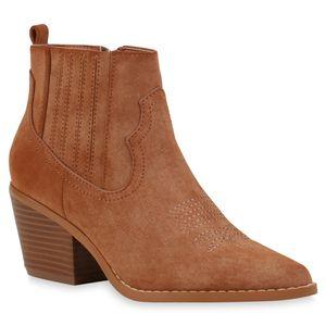 Mytrendshoe Damen Stiefeletten Cowboy Boots Stickereien Schuhe 835639, Farbe: Hellbraun, Größe: 40