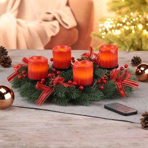 Adventskranz mit LED Echtwachskerzen Weihnachtskranz Weihnachtsschmuck Deko