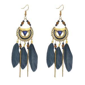 Frauen Vintage Mode Quaste Ohrringe Ethnischer Stil Feder Lange Ohrringe