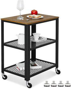 Meerveil Retro Servierwagen, 3 Ebenen Küchenwagen, Rollwagen auf 4 Rollen, Küchenregal aus Holz und Metall, für Küche und Wohnzimmer, Vintagebraun-schwarz