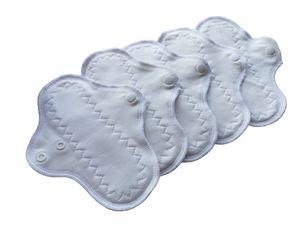 Handmade waschbare Slipeinlagen im Set für jeden Tag 20 cm | 5-er Set Wieder verwendbare Stoff Slipeinlagen | weiß