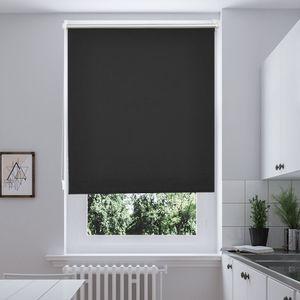 80x150cm Rollos i@home Klemmfix-Thermo Seitenzugrollo Verdunkelungs ohne Bohren Gardine Vorhang Schwarz