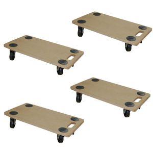 4 Stück Transportroller MDF 200 kg Möbelroller Rollbrett Möbelhund Möbel Roller