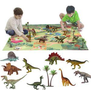 Dinosaurier Spielzeug Dino Dinosaurier Figuren mit Spielmatte Realistische Dinosaurier Jurassic World Aufbewahrungsbox Geschenk Lernspielzeug fuer Kinder Jungen Dinosaurier-Spielset Kreativ Spielzeug
