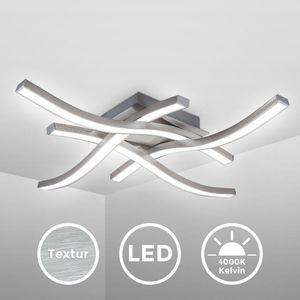 LED Deckenleuchte Deckenlampe 4-flammig 4.000K Neutralweiß 20 Watt 2.000 Lumen Aluoptik Acrylweiß Wellenförmig Geschwungen 425x425x70mm B.K.Licht