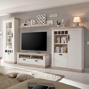 Wohnwand Florenz - Landhaus Pinie Weiß - Variante 4 mit Rückwandbeleuchtung