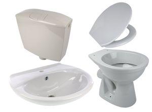 Calmwaters® - Komplettset in Manhattan-Grau aus Stand-WC, WC-Sitz mit Absenkautomatik,Spülkasten & Waschtisch - 99000194