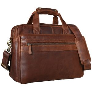 STILORD Lehrertasche 'Adventure' Herren Damen Aktentasche Office Büro Schulter- oder Umhängetasche für 15,6 Zoll Laptop Leder Dunkelbraun