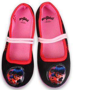 Miraculous Ladybug Ballerinas Hausschuhe Slipper Latschen Schwarz - Größe 28