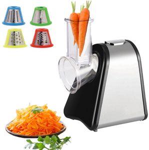 Zilan Elektrische Reibe | Elektrischer Gemüsehobel | Spiralschneider | Gemüseschneider | 200 Watt | 4 Aufsätze |