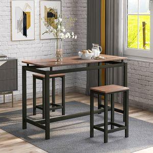 Merax Bartisch-Set mit 2 Barhockern, Stehtisch 100 x 40 x 90 cm | Küchentresen Küchentisch und Stühle mit Barstühlen | im Industrie-Design | Vintage dunkelbraun