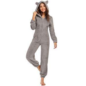Winter Damen Langarm Pyjama Fleece Pyjamas ,Niedliche Stück Pyjama, Kapuze Warm Jumpsuit Nachtwaesche Weihnachten Homewear[Grau -L]