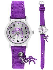 Crystal blue Armbanduhr Mädchen funkelndes Pferd am Textilarmband violett 20016