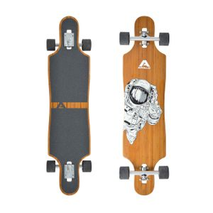 "Apollo Longboard ""Apollo13"" , Komplettboard mit Deck aus Bambus & Fiberglas, High-End Board mit ABEC 9 Kugellager"