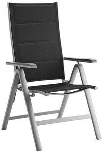 Countryside® Hochlehner Alu Gartenstuhl | Klappstuhl silber-grau, gepolsterter Bezug schwarz, Maße: ca. 61,5 x 67 x 110 cm (B x T x H)