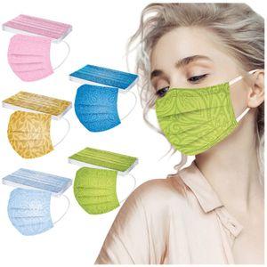 50 Stück Einweg-Gesichtsmasken Innen- und Außenschutz für Nase und Mund mit 3-lagigem Sicherheitsschutz mit Motiv Bunt