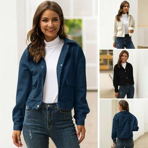Damen Spring Cropped Jacke Cord Kurzmantel Turn-Down Kragen Taschen Langarm Casual Autumn Top