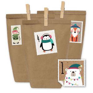 Papierdrachen DIY Adventskalender - 24 Geschenktüten und 24 Zahlenaufkleber und Klammern - Motiv Briefmarke Bärchen - zum Befüllen und basteln - Weihnachten 2018 - Mini Set Nr 49