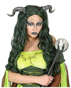 Waldhexen Perücke mit Hörnernals Kostümzubehör für Halloween und Karneval