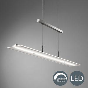 LED Pendelleuchte Echtglas dimmbar inkl. 20W 1600LM LED-Platine Höhenverstellbar warmweiß IP20 B.K.Licht