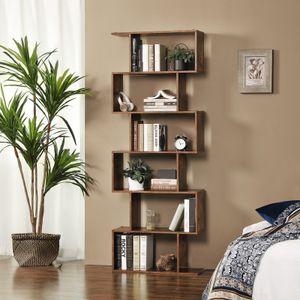 VASAGLE Bücherregal mit 6 Ebenen Vintage 70 x 24 x 190,5 cm aus Holz Standregal zur Vorführung freistehender Schrank Nachbildungegal Dunkelbraun LBC61BX