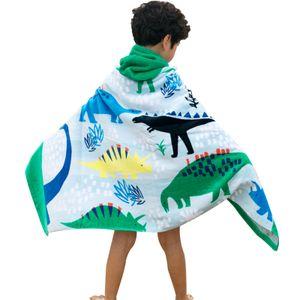 Premium-Strandbadetuch mit Kapuze für Kinder | Dinosaurier Design | Ultraweich und super süß | Badetuch aus 100% Baumwolle mit Kapuze für Jungen Mädchen von ele ELEOPTION