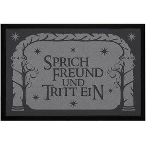Fußmatte mit Spruch Sprich Freund und tritt ein Losungswort Film-Zitat Fantasy rutschfest & waschbar Moonworks® schwarz 60x40cm