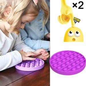 2 × Umweltschutz Hand Push Bubble Spielzeug, tragbares Spielzeug für die Dekompression, Kinder mathematische mentale Arithmetik Lernspielzeug