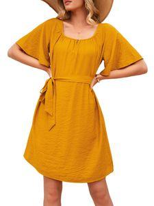 Damen Sommer Schnür Taille Kleid Rundhalsausschnitt Lässig T-Shirt,Farbe: Gelb,Größe:S