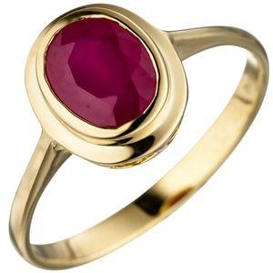 JOBO Damen Ring 52mm oval 585 Gold Gelbgold 1 Rubin Goldring Rubinring